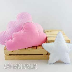 zestaw 3 poduch różowy, róż, różowa poduszka, chmurka, poduszka gwiazdka
