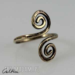 zawijasy - mosiężny pierścionek 200112-04, pierścionek, regulowany
