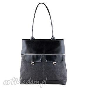 Nina - duża torba czerń, grafit i jasnoszary na ramię incat