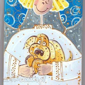 ręcznie wykonane pomysł na prezent pod choinkę deseczka ręcznie malowana - anioł z pieskiem (k4)