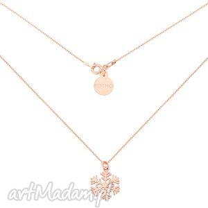 Naszyjnik z różowego złota ze śnieżynką, naszyjnik, zawieszka, śniezynka, płatek