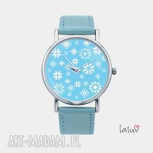 zegarek z grafiką zima - śnieg, płatki, mróz, święta, prezent