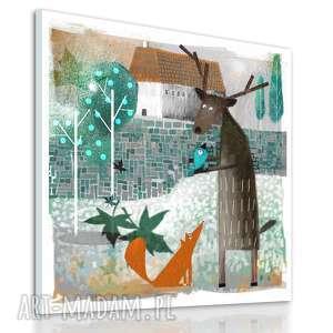 obraz na płótnie - 40x40cm lisek, jeleń i ptak wysyłka w 24h 0611 - obraz