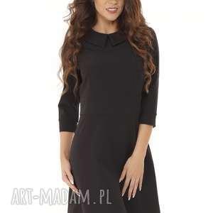 Elegancka sukienka z kołnierzykiem czarna, elegancka-sukienka, modna-sukienka