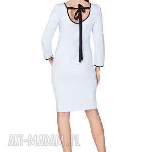 sukienka z dekoltem na plecach t224, jasnoniebieski czarny - sukienka, elegancka, dekolt