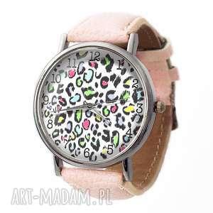 Panterka - Skórzany zegarek z dużą tarczą, panterka, cętki, zegarek, pastelowy