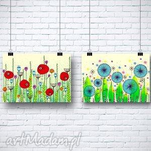 zestaw dwóch prac a3, kwiaty, maki, chabry, plakat dom