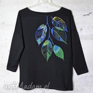 LIŚCIE bluzka oversize bawełniana S/M czarna, bluzka, bawełniana, liście