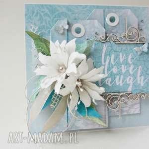 scrapbooking kartki turkus - w pudełku, życzenia, gratulacje, ślub, wyjątkowy
