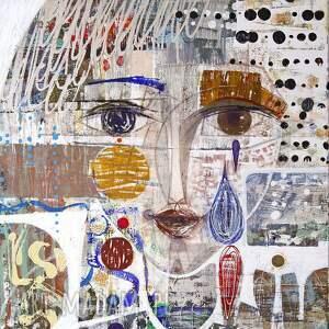 obraz oryginał na płótnie 100x70 cm - majowy deszcz, obraz, ręcznie malowany