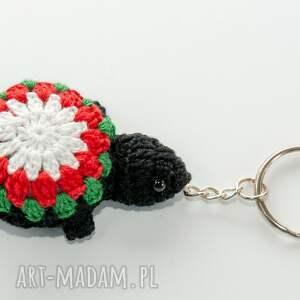 breloki breloczek żółwik, na szydełku, kolorowy, mały, do plecaka