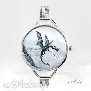 zegarek - czarny smok fantasy, zegarek, bransoletka, smok, dragon