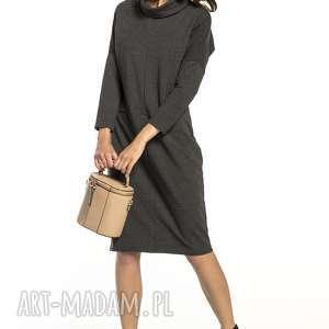 sukienki luźna sukienka z dzianiny dresowej golfikiem, t290, ciemnoszary