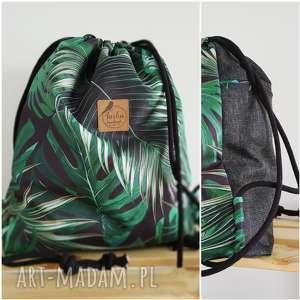 Plecak worek - tropikalne liście tasha handmade plecak, worek