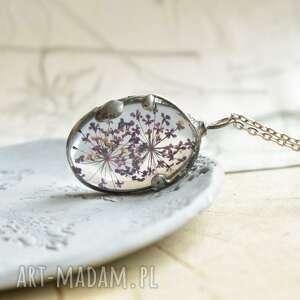 hand-made naszyjniki fioletowa łąka - naszyjnik z kwiatem w szkle