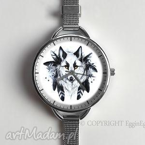 wilk - zegarek z dużą tarczką - bransoletka, pióra