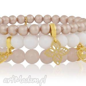 hand made bransoletki zestaw modowych bransoletek pastel z kamieni i złotych zawieszek ręka fatimy
