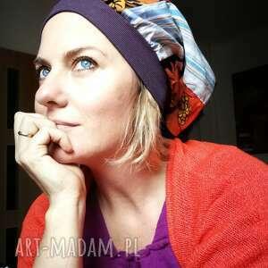 czapki czapka damska szyta patchworkowo, długa smerfetka na podszewce, rozmiar