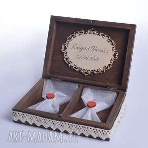 Pudełko na obrączki ślubne Rustykalne, pudełko-na-obrączki, pudełko-rustykalne