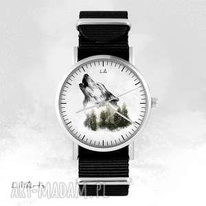 zegarek - wilk czarny, nato, unisex, zegarek, bransoletka, wilk, las