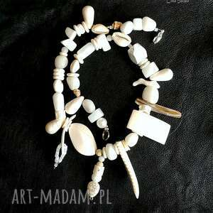 naszyjniki biały naszyjnik super na lato oryginalny handmade