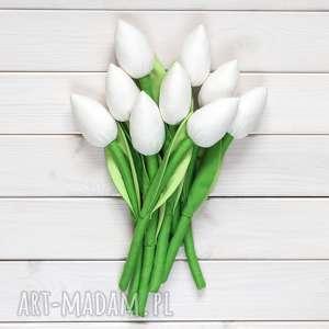 pomysł na upominki święta TULIPANY biały bawełniany bukiet, tulipany, kwiaty