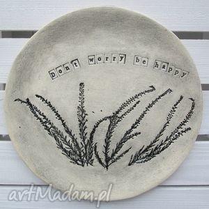 optymistyczna patera z wrzosami, patera, ceramiczna, motto, roślinna, talerz