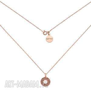 naszyjnik z różowego złota rozetą, naszyjnik, zawieszka, okrągła, elegancki