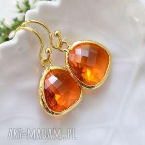 Amber drops in gold, wiszące, delikatne, subtelne, kryształ, złoto