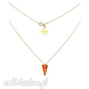 zŁoty naszyjnik spike astral pink swarovski elements - naszyjnik, złoty, wisiorek