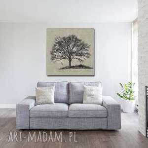 Obraz XXL DRZEWO 20 -80x80cm design na płótnie, drzewo, szare