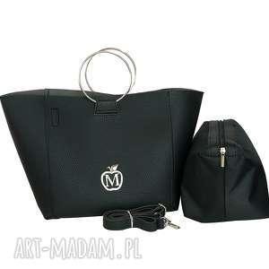 handmade torebki torebka łódeczka manzana 2w1 miejski styl - czarna