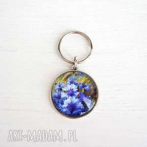 breloczek do kluczy - chabry, brelok, klucze, przypinka, kwiaty
