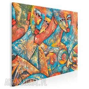 obraz na płótnie - abstrakcja kobiety akt w kwadracie 80x80 cm 87502