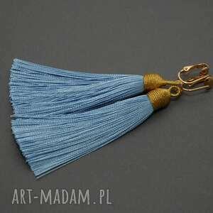 klipsy z chwostami, sznurek, błękitne