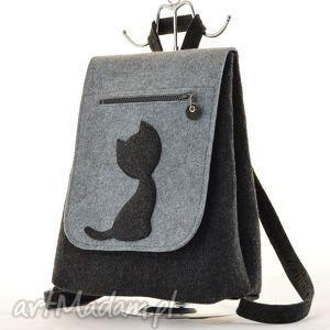 filcowy plecak z kotkiem - grafit szarym, filc, filcowy, plecak, kot, kotek