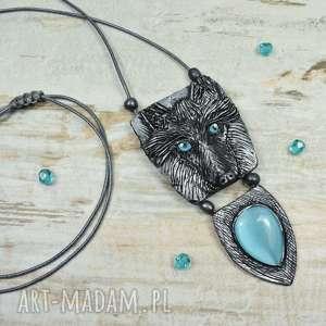 wisiorki długi wisior - wilk, długie wisiory, biżuteria na prezent, z