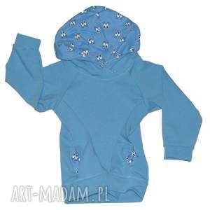 oczy niebieska bluza raglanowa z kapturem, bawełniana dla chłopca