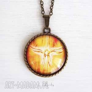 medalion, talizman - anioły miłości antyczny brąz, naszyjnik, medalion