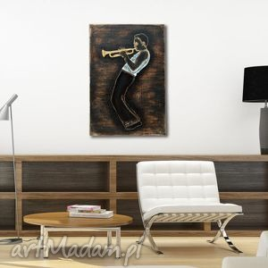 Trumpet Master 3D - duży, drewniany, przestrzenny, trąbka, jazz, jazzman, trumpet