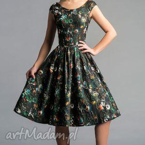 Sukienka SCARLETT (Marszczona) Midi Tatiana, rozkloszowana, błyszcząca, tiul, bal