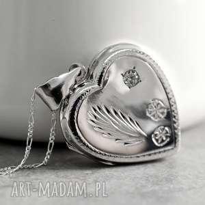 naszyjniki 925 serce - srebrny medalion, serce, miłość, walentynki, serduszko, srebro