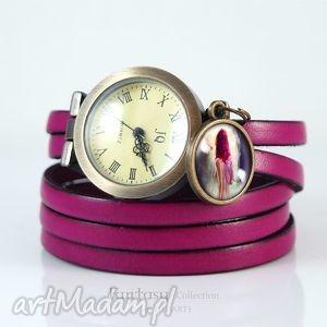 Bransoletka, zegarek - wróżka fuksja, skórzana liliarts
