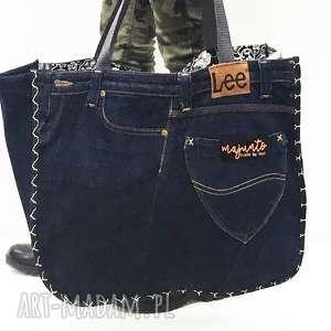 duża torba upcykling jeans 29 lee od majunto, upcykling, jeans