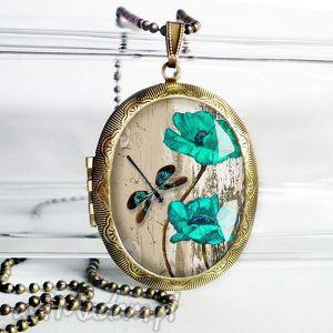 turkusowe kwiaty i ważka - śliczny medalion otwierany na zdjęcia, medaliony