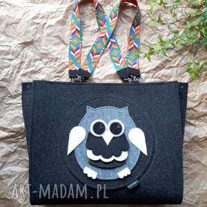 torba filcowa owl #004, torba, torebka, filcowa, prezent, sowa, filc
