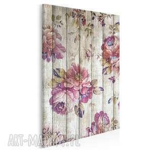 obraz na płótnie - kwiaty drewno prowansalski w pionie 50x70 cm 75603