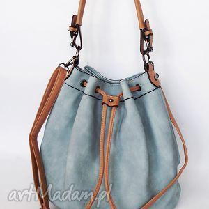 torebka na ramię ściągana- niebieska, torba, torebka, ekoskóra