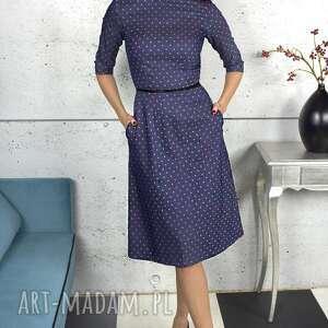 granatowa sukienka w groszki, sukienka, kieszenie, kobieta, uniwersalna