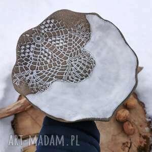 ceramiczny talerz c143, talerz, koronka, kamionkowy, talerzyk